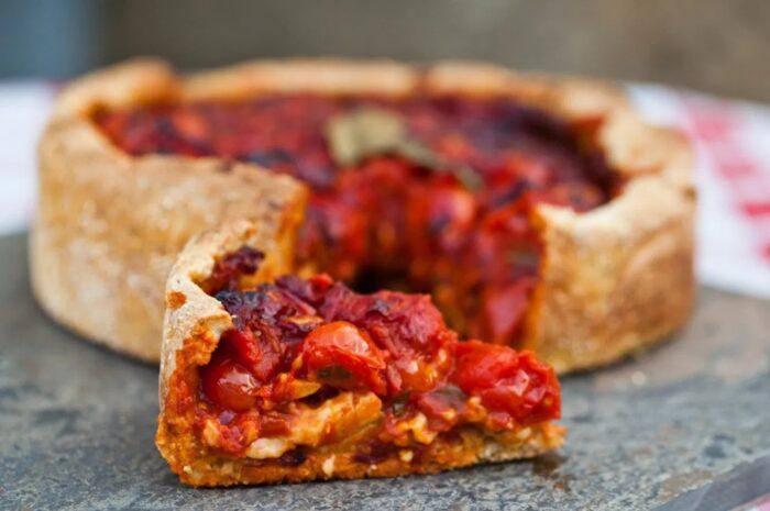 Рецепт томатного пирога с сыром тофу